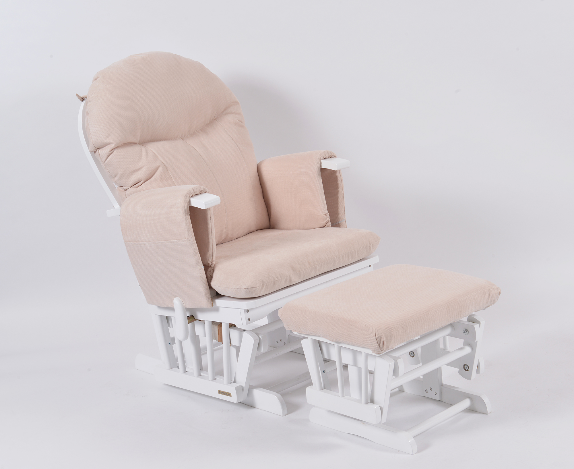 Habebe Glider Chair & Stool – White Wood & Cream Washable Covers
