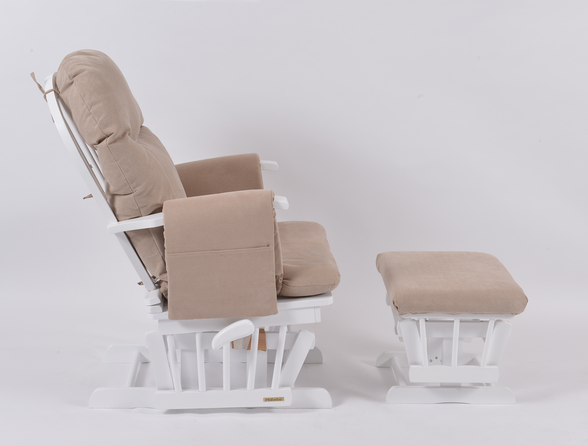 Habebe Glider Chair & Stool – White Wood & Beige Washable Covers