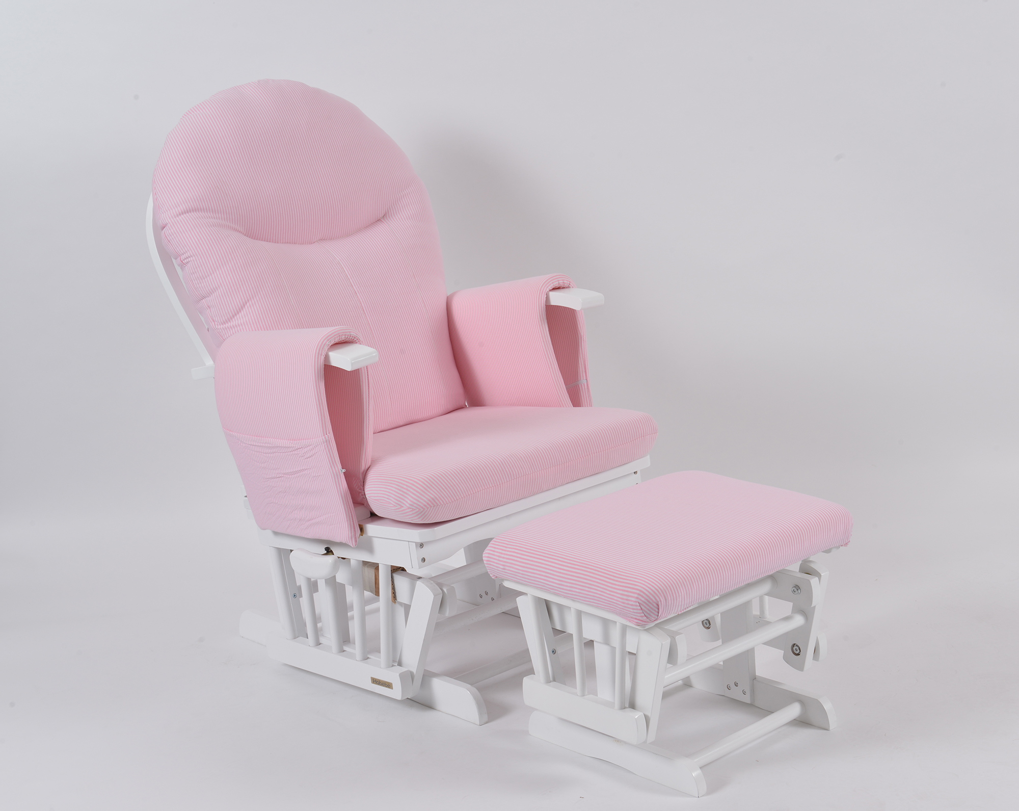 Habebe Glider Chair Amp Stool White Wood Amp Pink Stripe