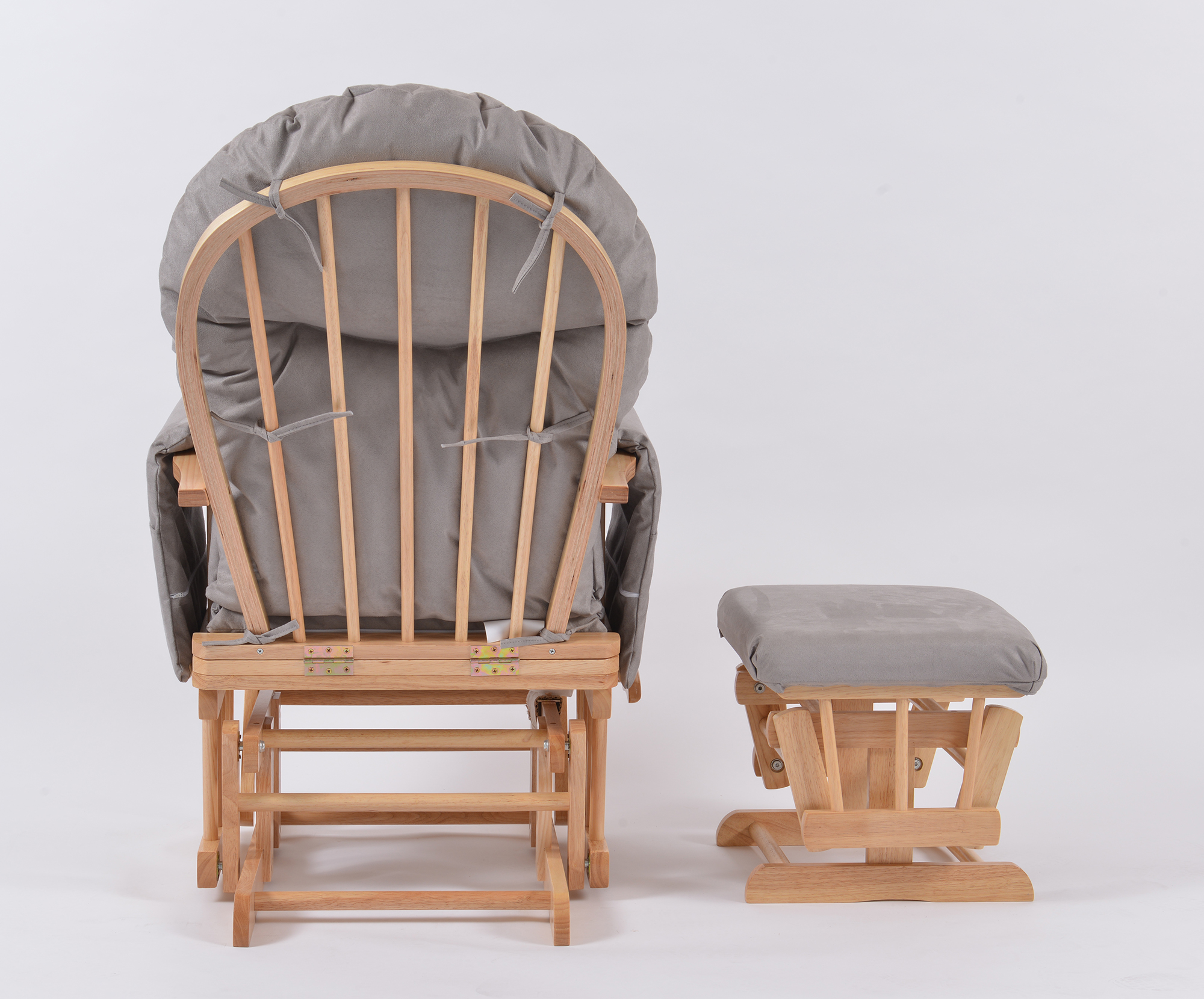 size 40 f777d 89583 Habebe Glider Chair & Stool - Beech Wood & Grey Washable Covers + Brake  System
